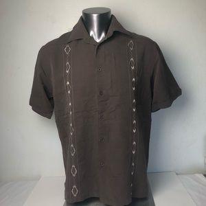Cubavera Mens Button Down Brown Shirt Size:L